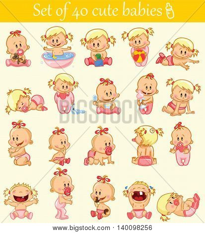 Vector illustration of baby girls. Various poses.First year activities.