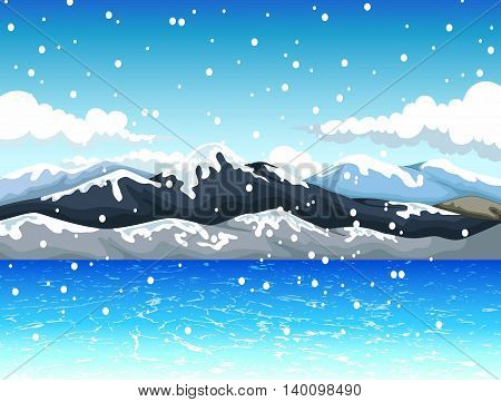 beauty snow mountain cartoon with landscape background