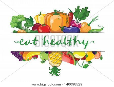 Set of fruits and vagetables. Eat helthy