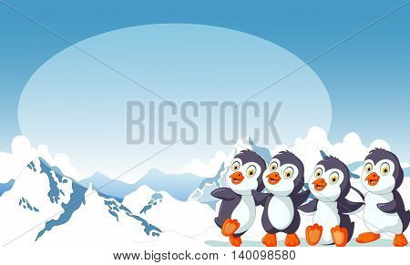 funny four penguins cartoon with snow mountain