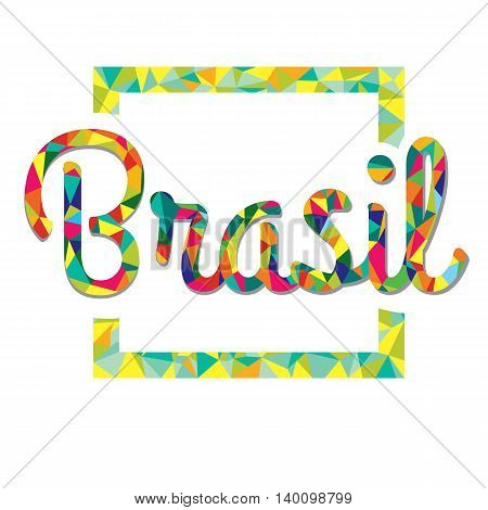 Bright color logo in the style of low poly Brazil. Logo in the frame of a color mosaic
