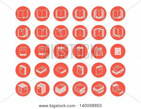 Red books icon set on the white background. Vector illustration