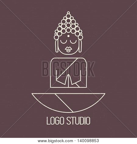 Drawing of a Buddha statue. Art vector illustration of Gautama.Design for greeting card, print clothing. The concept of logo Yoga Studio.