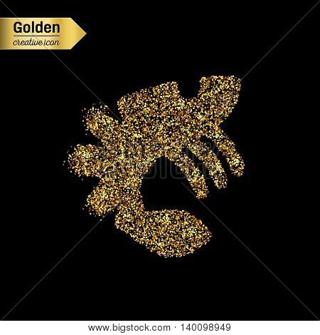 Gold glitter vector icon of lobster isolated on background. Art creative concept illustration for web, glow light confetti, bright sequins, sparkle tinsel, abstract bling, shimmer dust, foil.