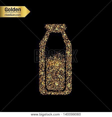 Gold glitter vector icon of the milk in the bottle isolated on background. Art creative concept illustration for web, glow light confetti, bright sequins, sparkle tinsel, abstract bling, shimmer dust.