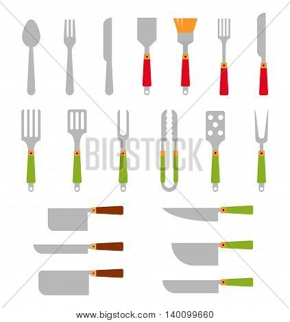 Stainless steel BBQ grill tools and cooking.Vector illustration consisting of cutlery for the barbecue. Flat icons isolated on white background.