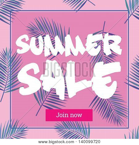 Summer sale up tu 50 per cent off. Web-banner or poster with watercolor palm leaves. EPS 10