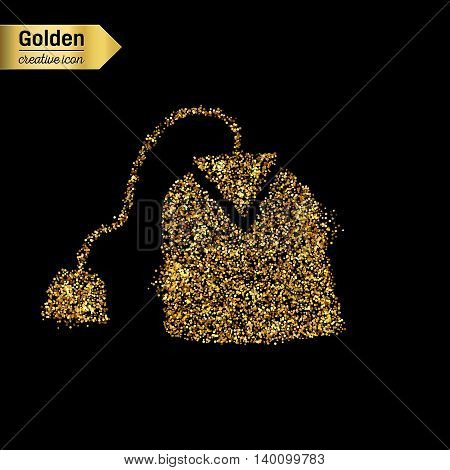 Gold glitter vector icon of tea bag isolated on background. Art creative concept illustration for web, glow light confetti, bright sequins, sparkle tinsel, abstract bling, shimmer dust, foil.