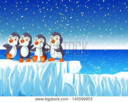 funny penguins  with snow mountain landscape background