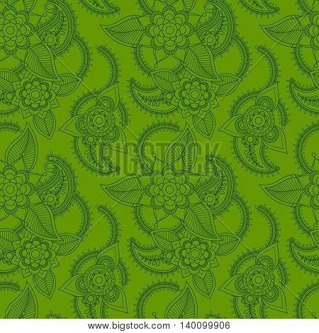 Green color line art style pattern design. Vector illustration