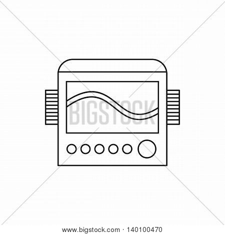 Display with cardiogram, ecg machine icon in outline style on a white background