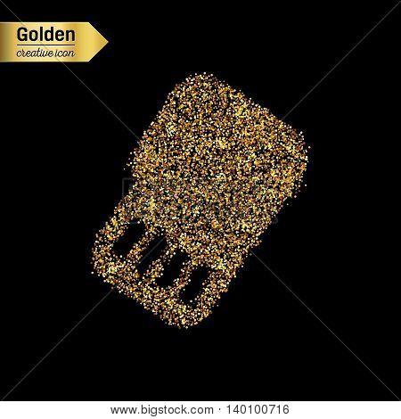 Gold glitter vector icon of sim card isolated on background. Art creative concept illustration for web, glow light confetti, bright sequins, sparkle tinsel, abstract bling, shimmer dust, foil.