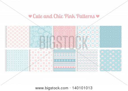 Cute and chic pink and blue patterns. Vector illustration