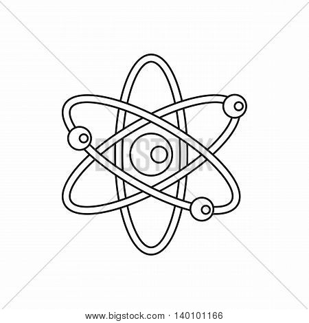 Atom with electrons icon in outline style on a white background
