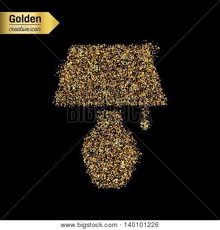 Gold glitter vector icon of lamp isolated on background. Art creative concept illustration for web, glow light confetti, bright sequins, sparkle tinsel, abstract bling, shimmer dust, foil.