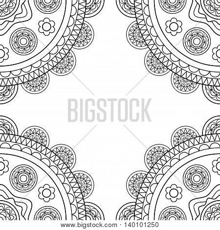 Doodle boho frame in black and white. Vector illustration