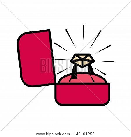 Engagement ring in a box icon. Vector illustration