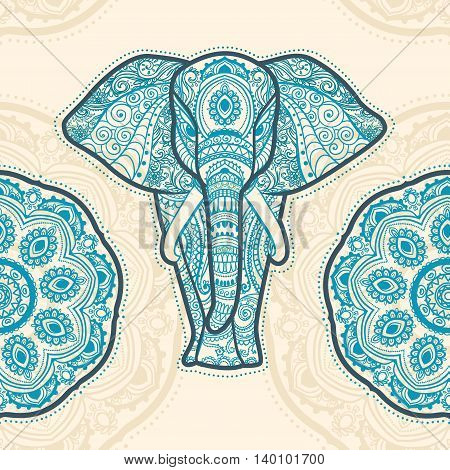 Greeting Beautiful pattern with Elephant. Pattern of animal made in vector. The pattern in ethnic style, elephant and decorations. Hand drawn map with Elephant.