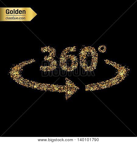 Gold glitter vector icon of 360 degrees isolated on background. Art creative concept illustration for web, glow light confetti, bright sequins, sparkle tinsel, abstract bling, shimmer dust, foil.