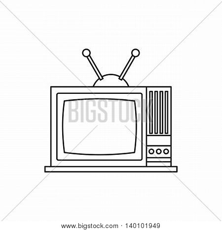 Retro TV icon in outline style on a white background