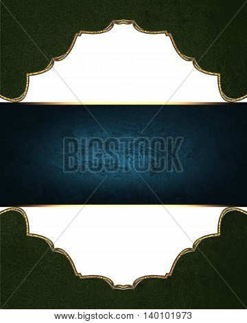 Green Background With A Blue Ribbon. Template For Design. Copy Space For Ad Brochure Or Announcement