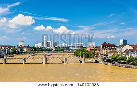 View of the Rhine river in Basel, Switzerland