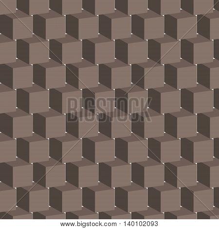 Seamless pattern with geometrical figures voluminous dark
