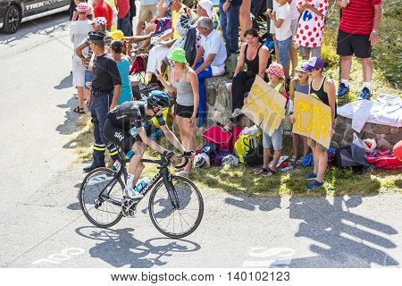 Col du Glandon France - July 23 2015: The Dutch cyclist Wout Poels of Team Sky riding in a beautiful curve at Col du Glandon in Alps during the stage 18 of Le Tour de France 2015.