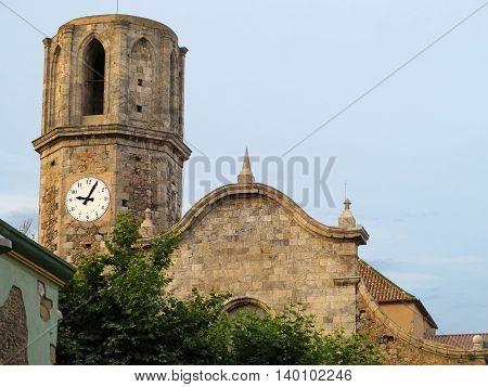 Old stone medieval Church of St Nicolau in Malgrat de mar Spain