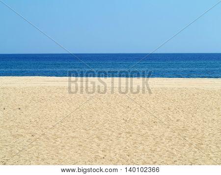 Empty sea and sand beach background on Costa Brava Spain