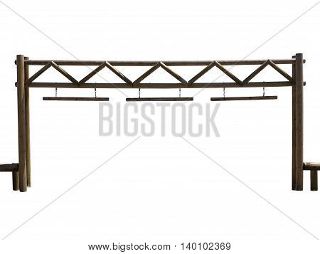 Old wooden farm gate isolated over white background