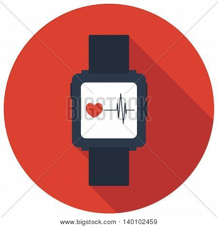 Isolated smart watch icon with a hearton red background, flat vector illustration
