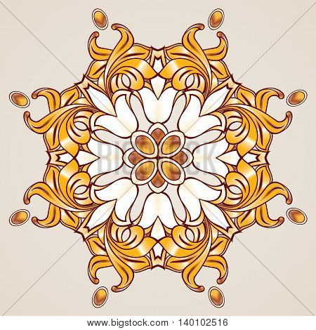 Abstract floral pattern in golden and brown shades on rose pink background