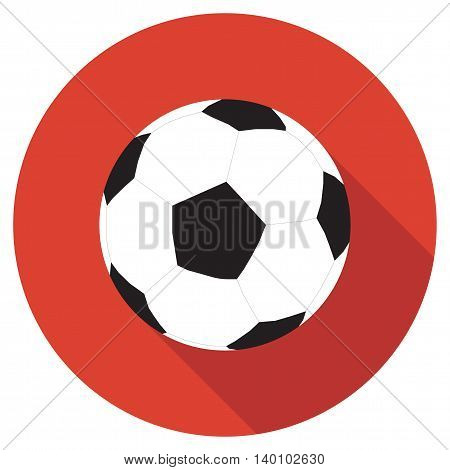 Football icon on red background with long shadow, flat vector illustration