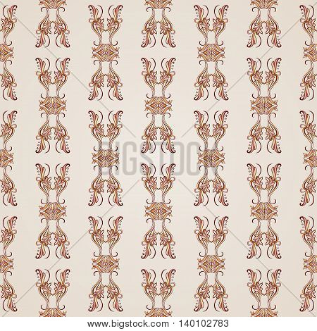 Seamless pattern with floral elements in brown shades on pastel rose pink background