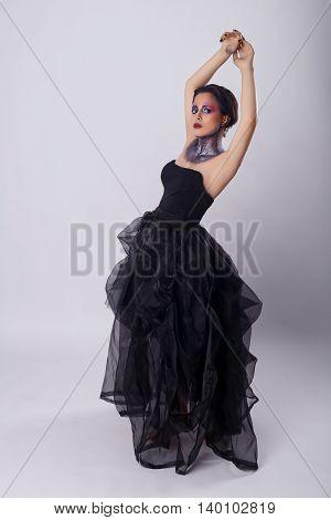 Beauty portrait of beautiful woman, in motion