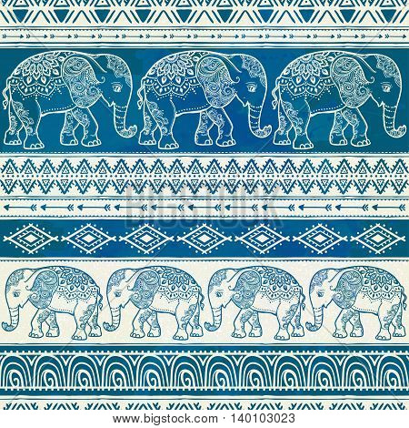 Cute pattern with Elephant. Frame of animal made in vector. Illustration for design, pattern, textiles. Hand drawn map with Use for children's clothes, pajamas