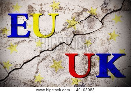 Brexit european and uk text on broken wall. vote for united kingdom exit concept