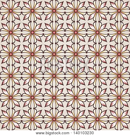 Seamless floral pattern with rose pink and light brown flowers in rows