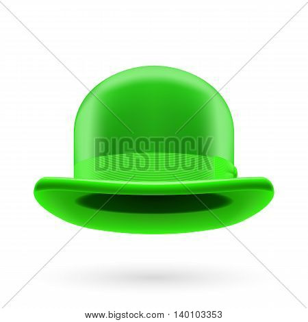 Green round traditional hat with hatband on white background.
