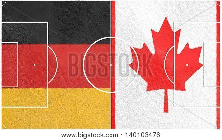 Flags of countries participating to the football tournament. Football field textured by Germany and Canada national flags. 3D rendering