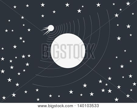 The Satellite Revolves Around A Planet In Space. Vector Illustration.