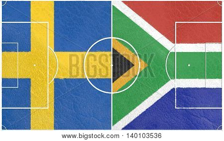 Flags of countries participating to the football tournament. Football field textured by South Africa and Sweden national flags.3D rendering