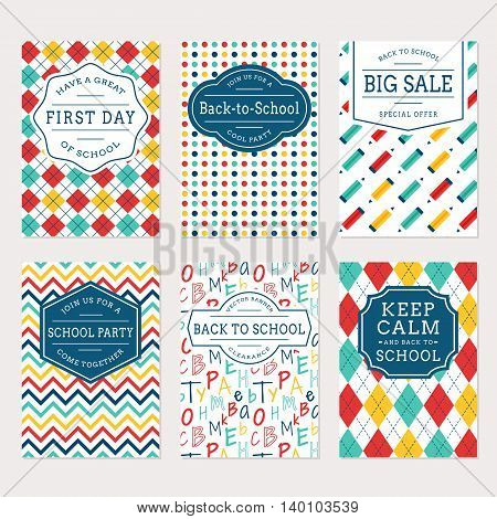 Back to school banners. Colorful templates for sale labels school party invitations and holiday cards. Vector set.