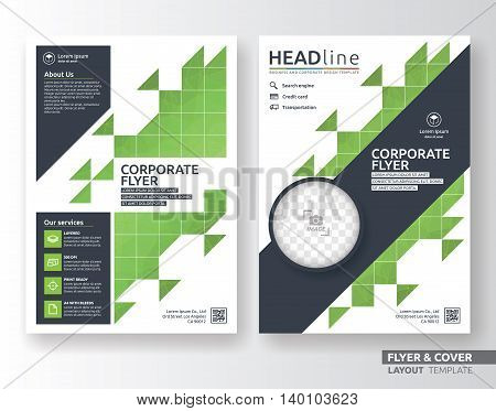 Multipurpose corporate business flyer layout design. Suitable for flyer brochure book cover and annual report. Green and navy blue color in A4 size template background with bleeds.