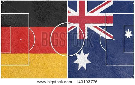 Flags of countries participating to the football tournament. Football field textured by Germany and Australia national flags. 3D rendering