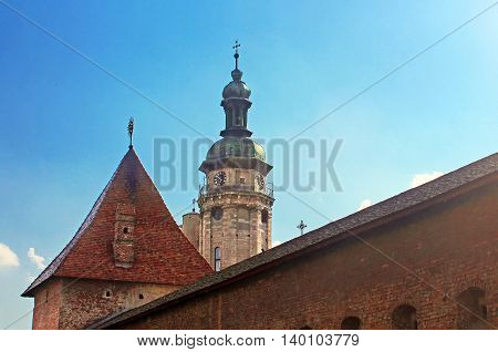 Lviv Bernardine Cathedral with city wall. Bernardine church and monastery located in Old Town of Lviv, south of Market square, Ukraine