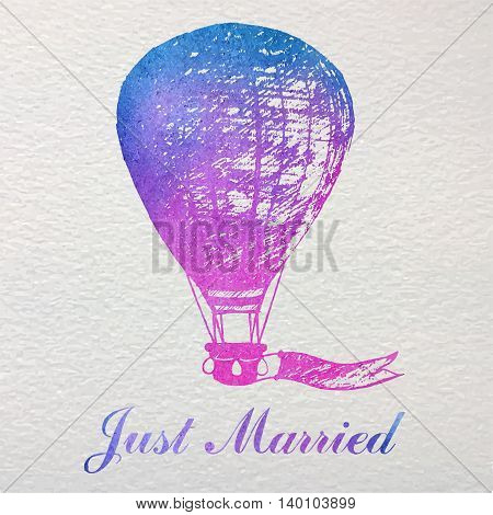 Hand drawn watercolor card with air balloon for wedding newlyweds.