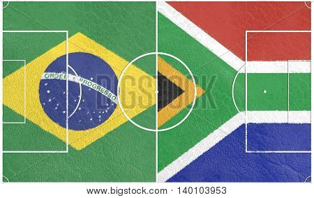 Flags of countries participating to the football tournament. Football field textured by South Africa and Brazil national flags.3D rendering