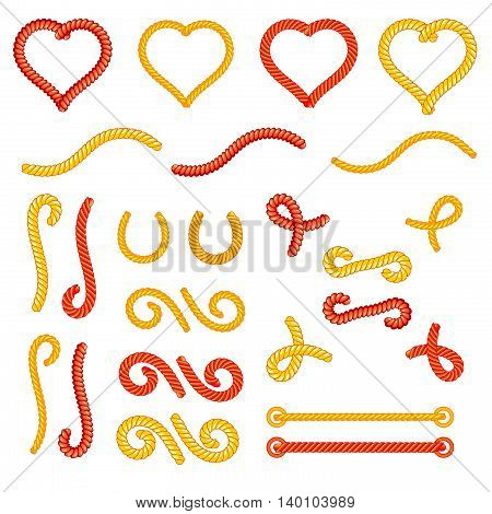 Rope knots collection set, random shapes, loops, decorative elements